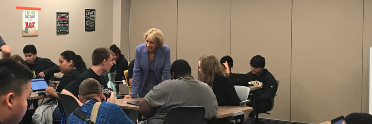 PPHS students with Secretary DeVos